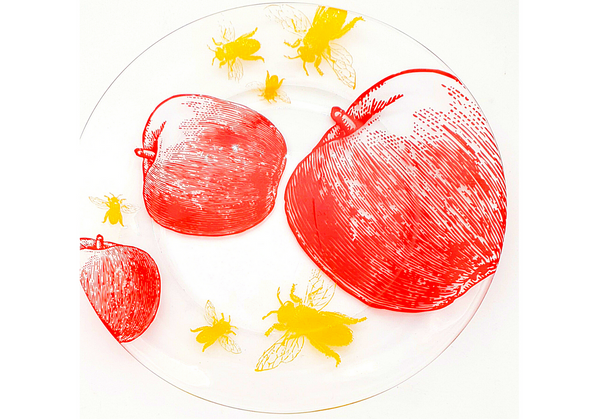 Apples and Bees Rosh Hashanah plate | Barbara Shaw Jewish Gifts