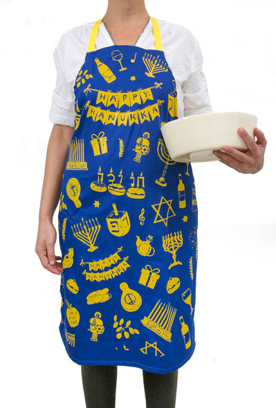 Hanukkah Decorations Apron, Great Hanukkah Gifts with Hanukkah Ornaments for Hanukkah décor - Menorah, Dreidel, Gelt