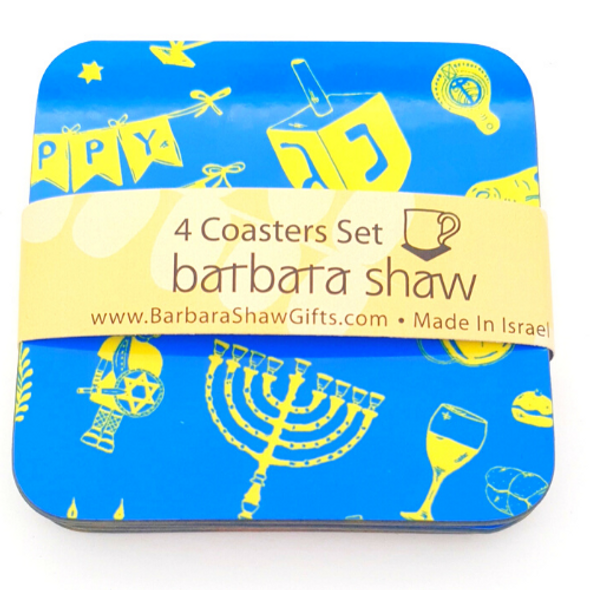 Hanukkah Decorations Coasters set of 4, Great Hanukkah Gifts with Hanukkah Ornaments for Hanukkah décor - Menorah, Dreidel, Gelt