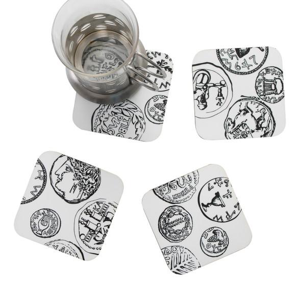 Ancient Coins Hanukkah Coasters set of 4