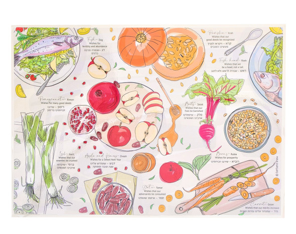 Rosh Hashana Laminated Placemat with special food and wishes for the New Year