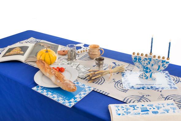 Menorah design Hanukkah table runner decoration