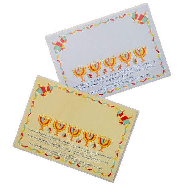 Hanukkah blessings menorah and dreidels icons blue and yellow laminated drip mat set of 2