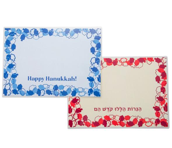 Hanukkah dreidels design red and blue laminated drip mat set of 2 for Hanukkah candles