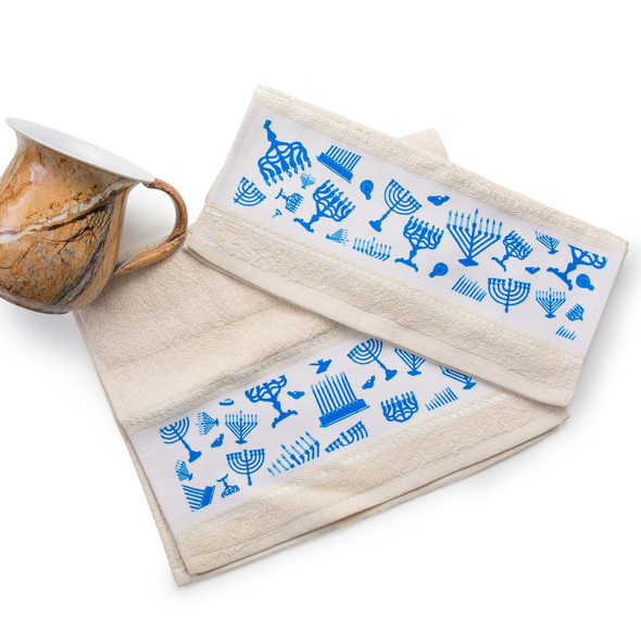 Hanukkah Menorah icons hand towel set of 2