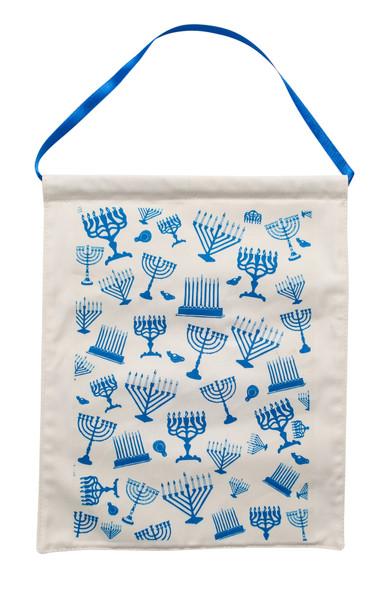 Hanukkah menorah cotton wall hanger with satin ribbon