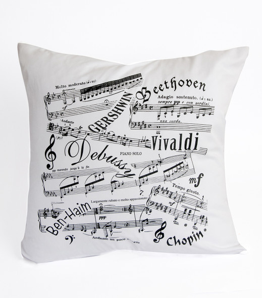 Music Notes and Famous Composers White Cushion