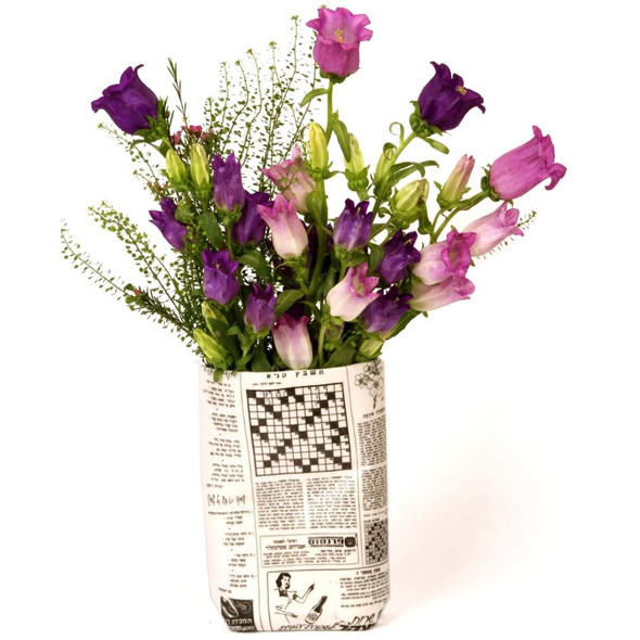 Retro Hebrew Newspaper Vase