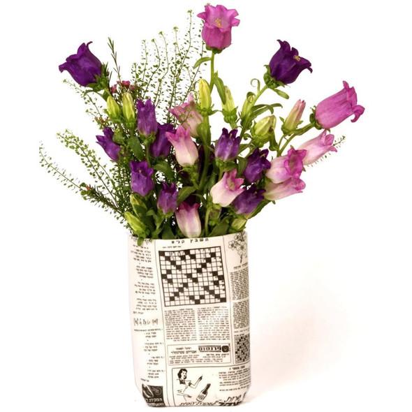 Retro Hebrew Newspaper Vase