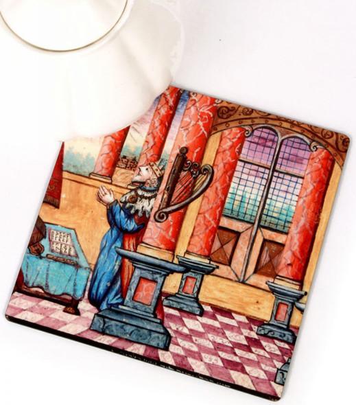 Kitchen Trivet - King David and Harp antique Illustration