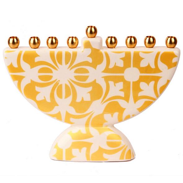 Moroccan Tile design unique ceramic Hanukkah Menorah  in Gold