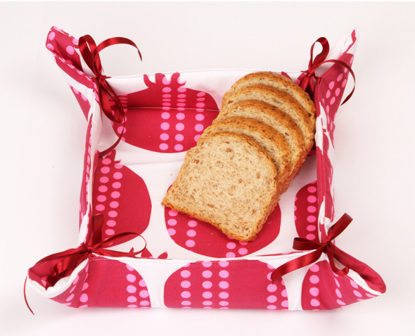 Pomegranate Bread Basket with satin tying strings