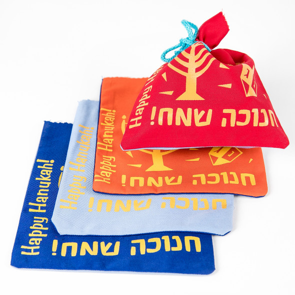 Hanukkah Colorful Gelt Bag set of 4