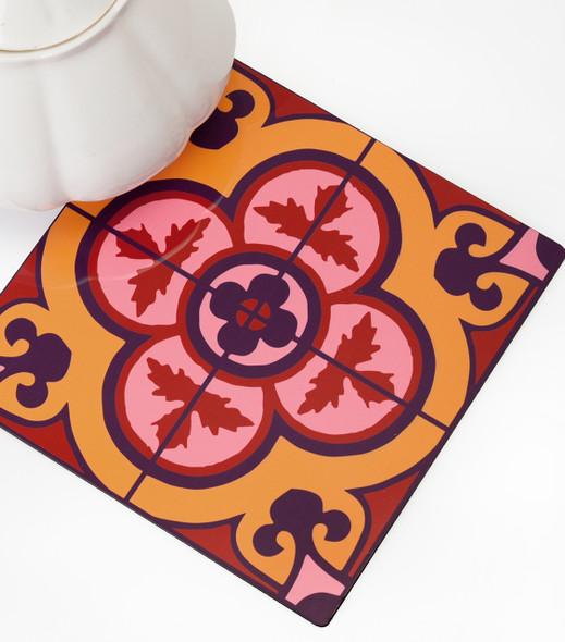 Flower Tile Kitchen wood Trivet - Bordeaux
