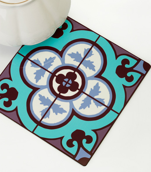 Flower Tile kitchen wood Trivet - Aqua