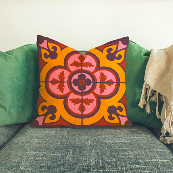 Flower Tile Cushion - Bordeaux