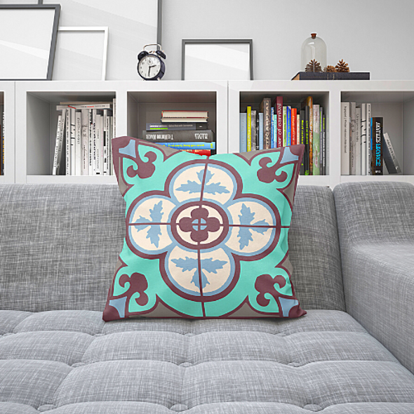 Flower Tile Cushion - Aqua