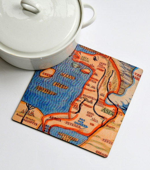 Kitchen wood Trivet - Italian Horse Map of Jerusalem
