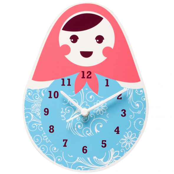 Babushka (Sweet Grandmother) wall Clock - Blue
