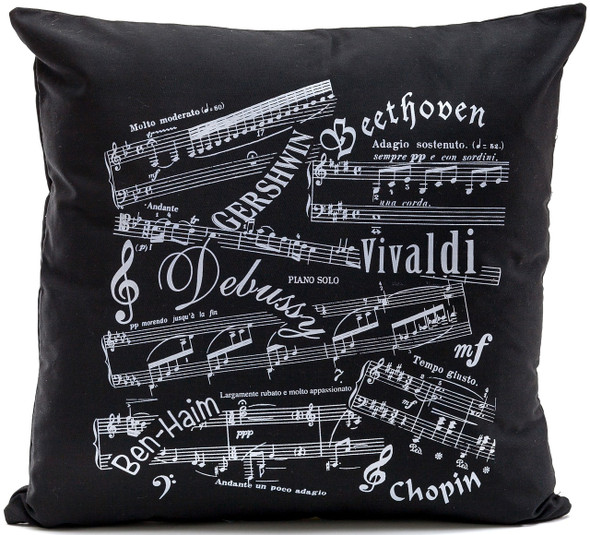 Music Notes and Famous Composers Black Cushion