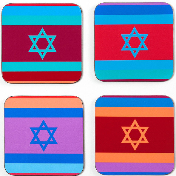 Set of 4 Coasters - Colorful Flags of Israel