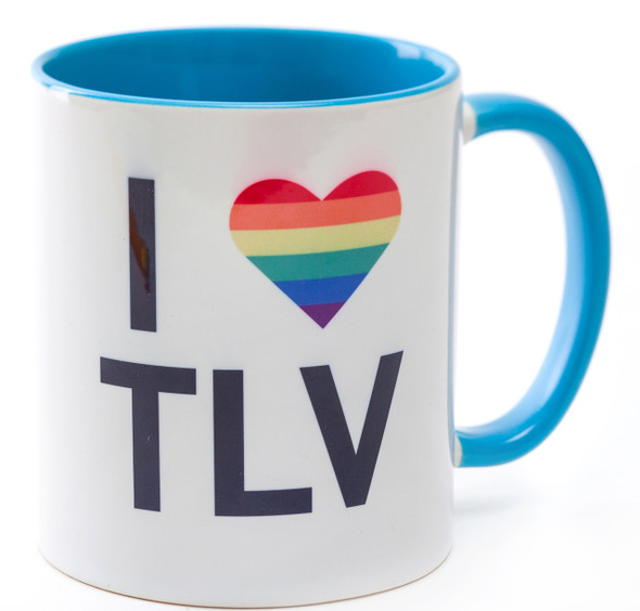 Blue coffee Mug - I love TLV | Barbara Shaw Jewish Gifts