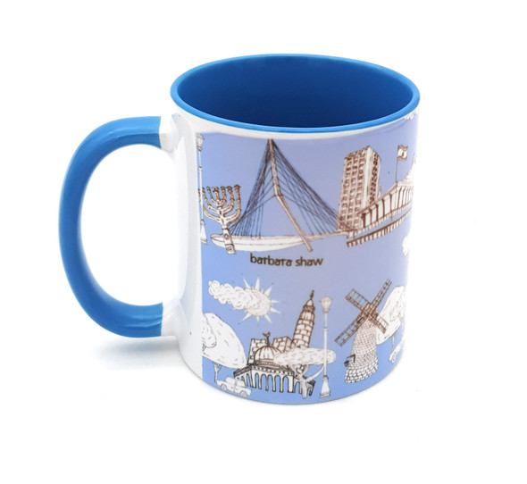 Jerusalem Sites light blue coffee mug | Barbara Shaw Jewish Gifts