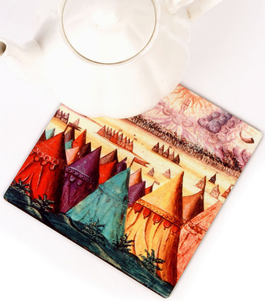 Barbara Shaw wooden Trivet - Desert Tents of the 12 tribes of Israel
