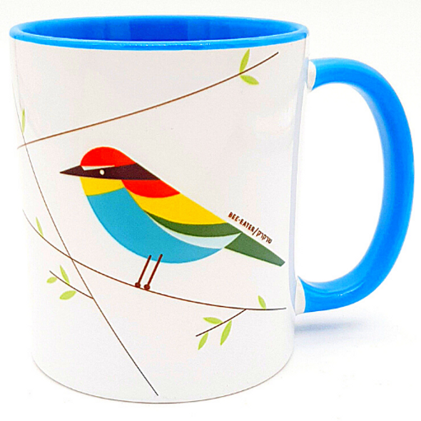 Bee-Eater bird of Israel  'Flights of Fancy' Blue Mug | Barbara Shaw Jewish Gifts