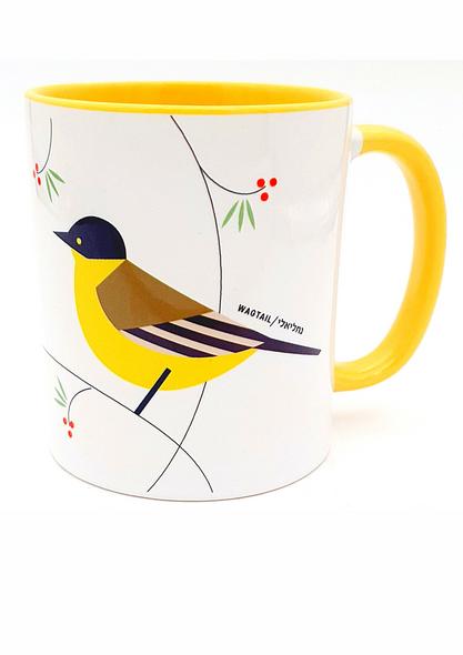 'Flights of Fancy': Wagtail Bird of Israel Yellow Coffee or Tea Mug