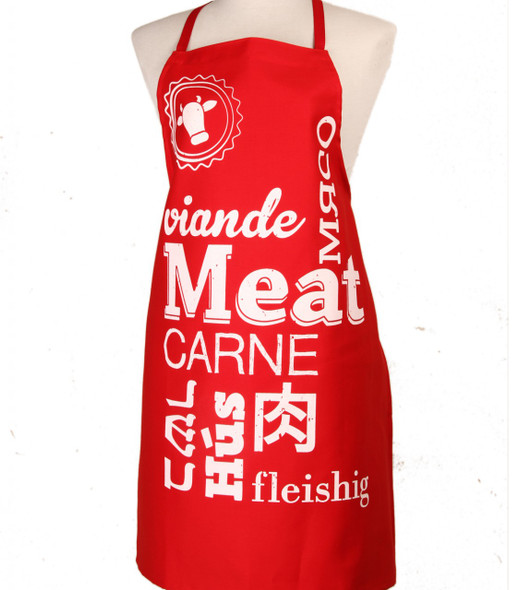 Jewish Apron - Meat design in red