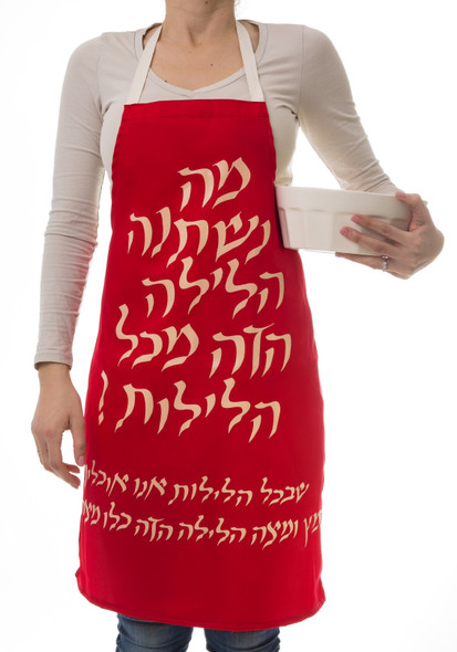 Barbara Shaw cotton Passover Apron - Ma Nishtana in Hebrew