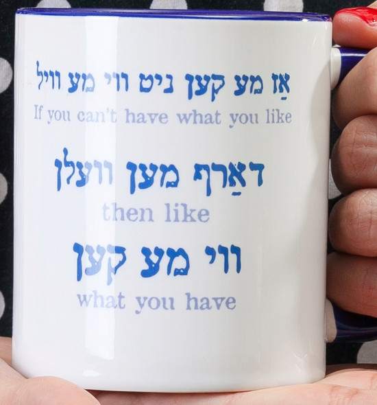 If You Can't Have What You Like... -  Great Yiddish coffee Mug | Barbara Shaw Jewish Gifts