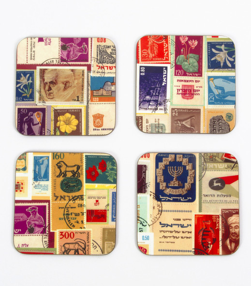 Set of 4 Coasters - Israeli Stamps.