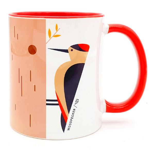 'Flights of Fancy': Woodpecker Bird of Israel Red Coffee or Tea Mug