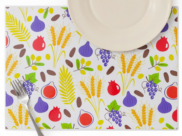 Seven Species of Israel Plastic Placemats - Set of 4