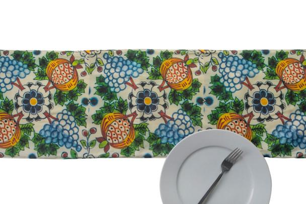 Delft Floral Pattern Table Runner For Rosh Hashanah