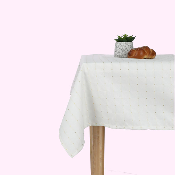 Gold Dots White rectangle table cloth