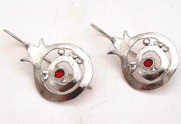 Sterling Silver Pomegranate Drop earrings with Garnet | Barbara Shaw Gifts
