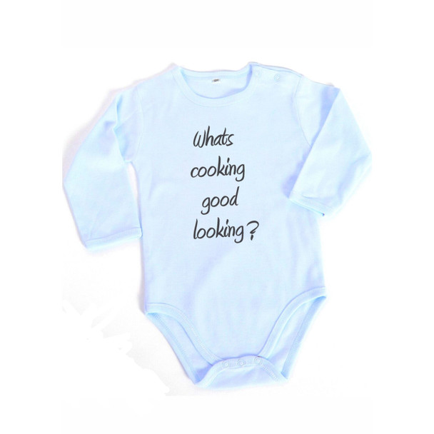 What's cooking good looking Baby Boy blue Onesie