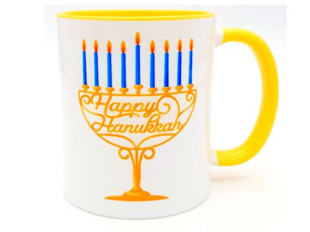 Happy Hanukkah menorah coffee mug
