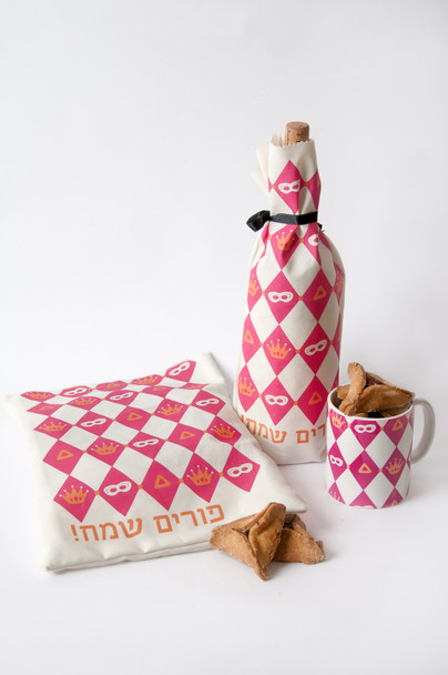 Barbara Shaw Purim fun pack- Mishloach manot bag, Wine cover and mug unique items for Purim