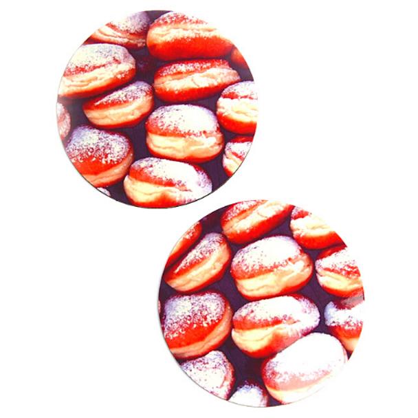 Doughnuts-Sofganiot Hanukkah themed round Coasters Set of 4