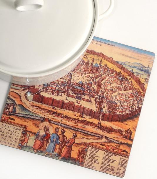 Trivet for the kitchen - Illustration of Old City Jerusalem Map