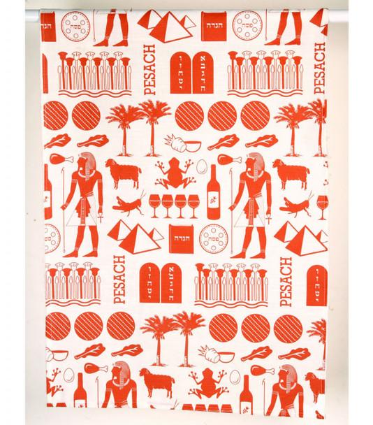 Barbara Shaw brick red Pharaoh Print Passover Dish Towel