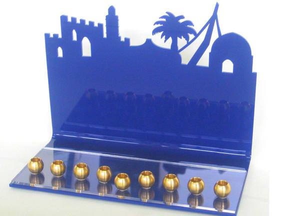 Jerusalem Silhouette Hanukkah Art Menorah