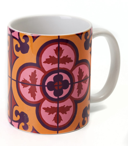Flower Tile unique coffee Mug - Bordeaux | Barbara Shaw Jewish Gifts