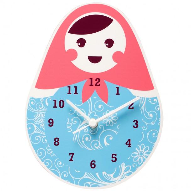 Babushka (Sweet Grandmother) wall Clock - Blue