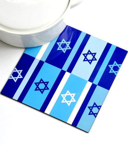 Trivet - Blue Israeli Flags