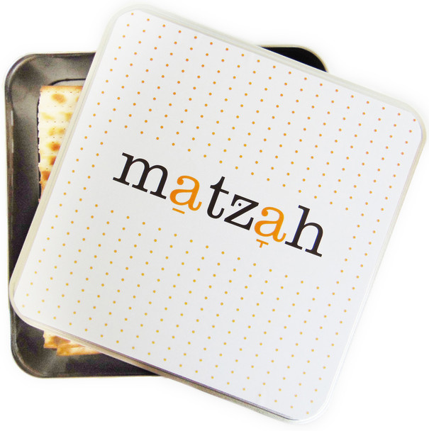 Barbara Shaw Matzah in English colorful matzao storage tin box